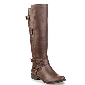 NWT Guess brown riding boots wide calf